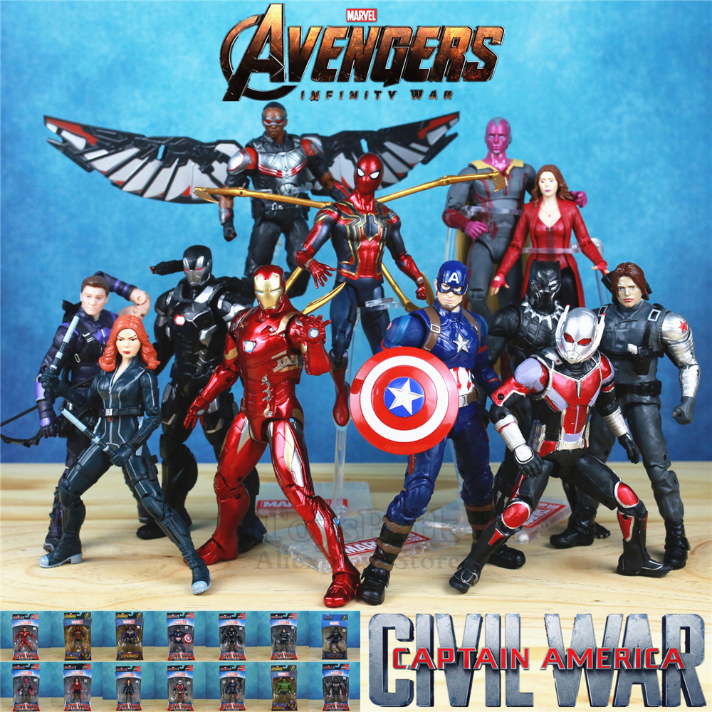 marvel-font-b-avengers-b-font-3-infinity-war-6-iron-spider-man-captain-america-spider-man-black-panther-vision-falcon-action-figure-toys-doll