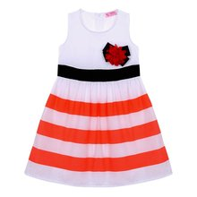 Baby Girls Flower Stripes Sleeveless Summer Dress Toddler Kid One-piece High Waist Dresses Hot