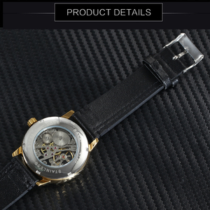 Image 4 - WINNER Official Fashion Casual Mechanical Watch Men Leather Strap Ultra Thin Dial Concise Golden Mens Watches Top Brand Luxury