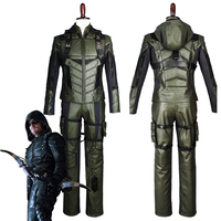 Green Arrow Season 5 Costume Superhero Oliver Queen Cosplay Costume Adult Outfit Harness Suit Uniform Whole Set