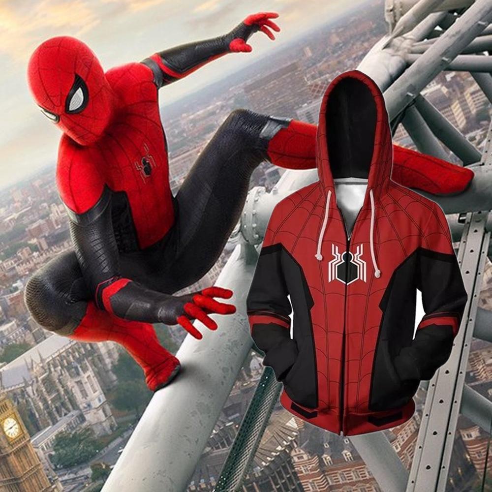 Anime Hoodies Sweatshirt Spiderman Far From Home Cosplay Costume Men Woman 3D Movie Jacket Hooded Top New
