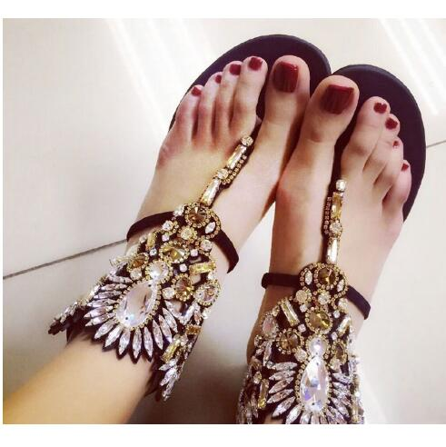 Designer Shoes Woman Luxury 2017 Sandale Femme Crystal Flat Beach Sandals Summer Flip Flops Rhinestone Gladiator Sandals Women