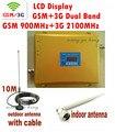 Display LCD 3G W-CDMA 2100 MHz + GSM 900 Mhz Dual Band Reforço de Sinal de Telefone móvel GSM 3G UMTS Repetidor de Sinal 2100 antena + Cabo