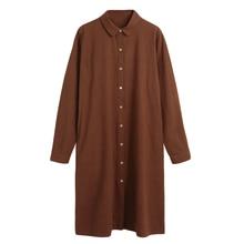Autumn Women Plus size Linen Dress Retro Cotton Shirt Dress Turn-Down Collar Long Sleeve Casual Line Blouse Dress Top 5XL