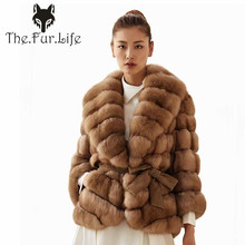 2018 Luxury Natural Real Fox Fur Coat Light Sable Color Dyed by Fox Fur Jacket Slim Warm Winter Genuine Fur Jackets and Coats
