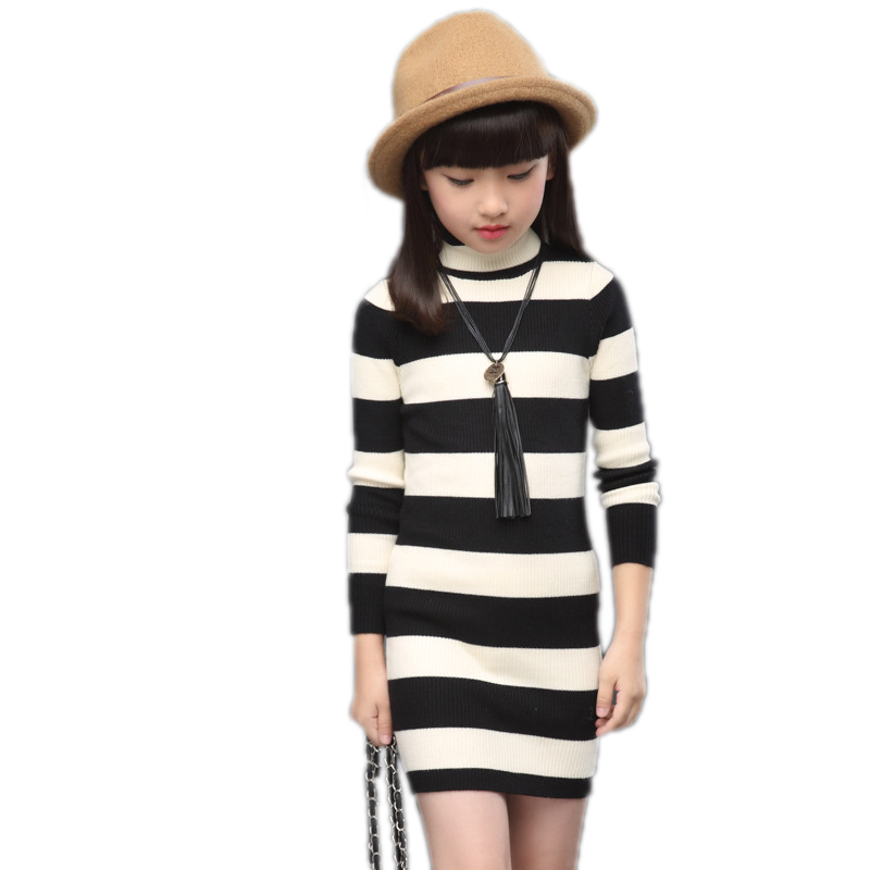 girls princess dress 2018 spring princess costume striped long sleeve girls dress knitted sweater turtleneck dress for girls original brand lalaloopsy dress yarn design false two dumbo sleeve queen girls party striped dress school girls princess dress