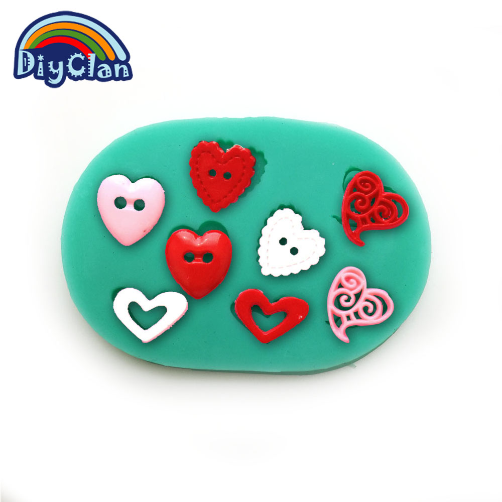 HOT DIY silikonové dorty formy dorty zdobení nástroje Srdce Gombíky fondantové formy čokoládové formy kuchyňské dortové nástroje F0300AX35