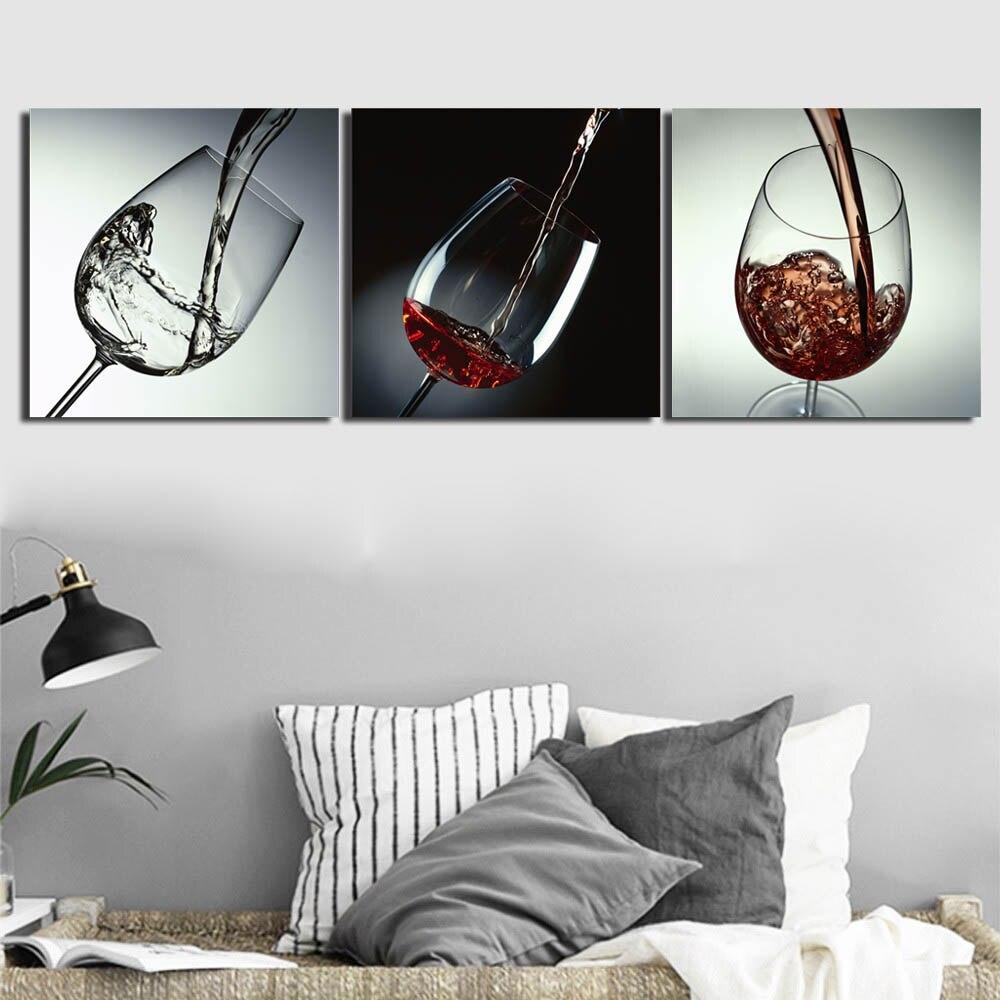3 Panel Rotwein Glas Wand Kunst Leinwand Malerei Gestreckt und Eingerahmt Becher Poster Bild für Küche Esszimmer Wand decor - 3
