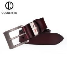 COOLERFIRE Vintage style pin buckle cow genuine leather belts for men 130cm high quality mens belt cinturones hombre HQ049