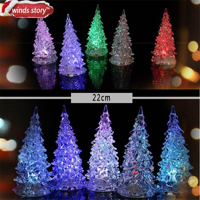 2PCS 22cm Acrylic Christmas Tree LED Colorful Lights Home Holiday Decor Christmas Lamp For Holidays Accessories Xmas Night Light