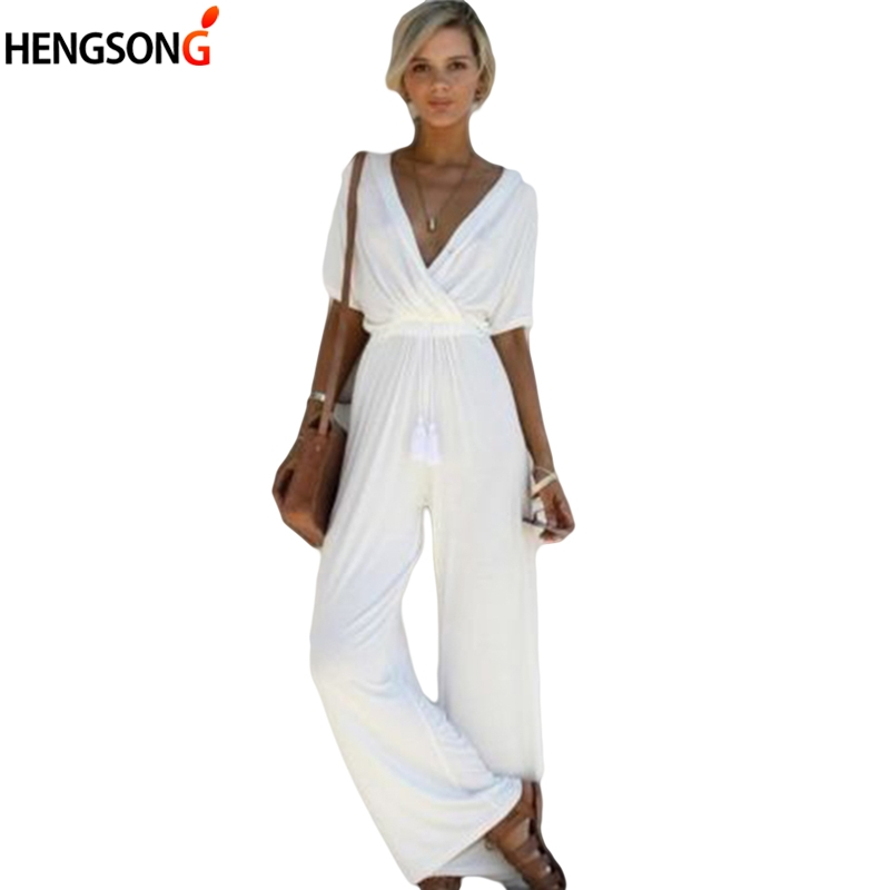 White Black Women Jumpsuit Sexy Deep V Neck Loose Women's Jumpsuits Party Bodycon Overalls For Women Rompers
