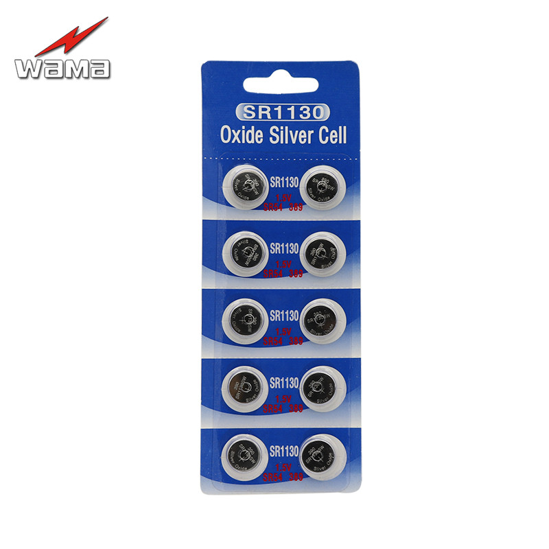 10x Wama SR1130 SR1130SW 389/390 Silver Oxide 1.55V Battery Mercury Free High Quality Button Cell Watch Batteries