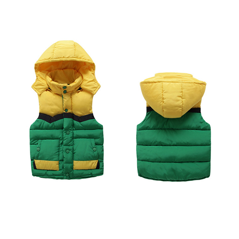 2018 Winter Kids Waistcoats Children Vest Warm Hooded Coat Sleeveless Jacket Cotton Kid Clothe Boy Girl Outwear 4-12T