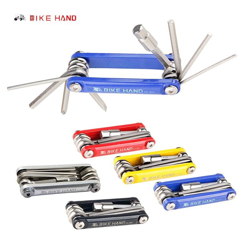 Bikehand 9 em 1 conjuntos de ferramentas bicicleta montanha multi ferramenta reparo kit hexagonal chave chave chave chave chave chave chave chave de fenda portátil YC-262