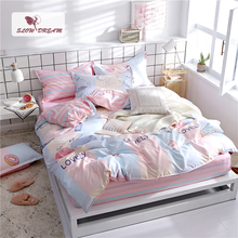 SlowDream Bedding Set Cartoon Style Child Bedspread Pink Rubber Sheet On Elastic Band Double Queen Duvet Cover Bed Linen