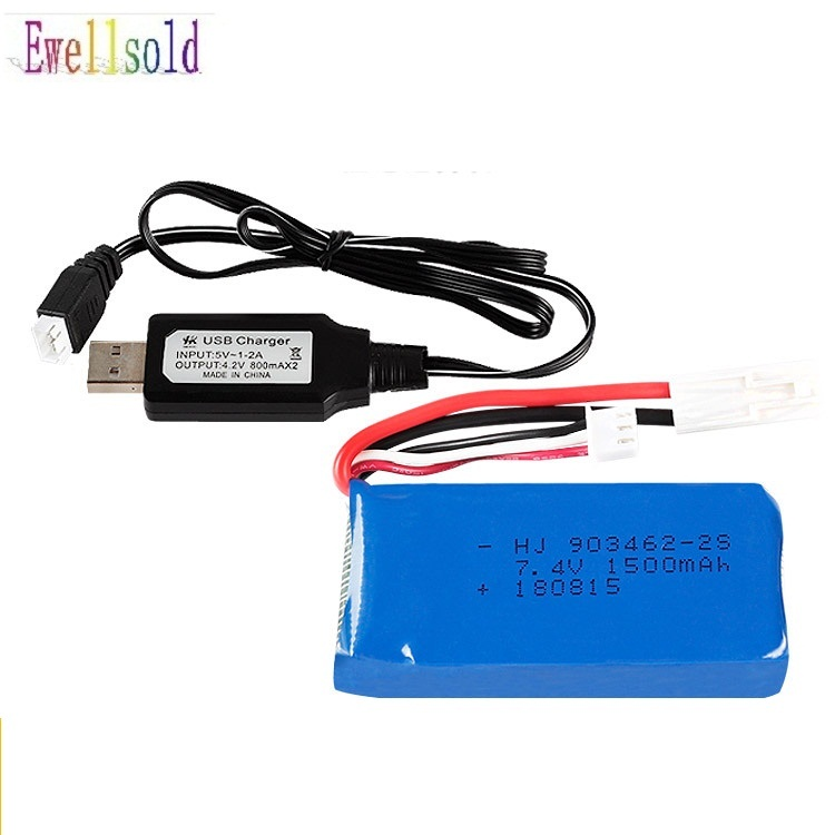 Ewellsold <font><b>7.4V</b></font> <font><b>1500mAh</b></font>/2800MAH Lipo <font><b>battery</b></font>/USB <font><b>charger</b></font> For FT009 RC Boat speedboat 12428 <font><b>battery</b></font> Lipo 2S 7.4 V <font><b>1500mah</b></font> 2S image