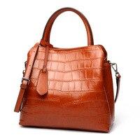 KORABA 2017 New Genuine Leather Women Tote Imitation Alligator Ladies Shoulder Bags Female Retro Handbag Elegant