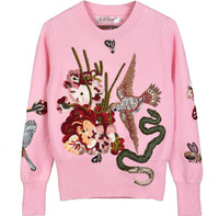 Winter Christmas Gift Bird Embroidery Runway Sweater and Pullovers Women Crystal Beading Female Vintage Jumper Tops Clothing