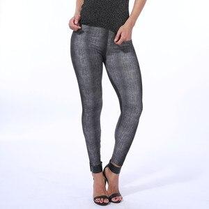 Image 5 - Yeni Varış Taklit Kovboy Kadın Baskı Tayt Yumuşak Cilt Denim Ince Esneklik Pantolon Seksi Sahte Kot Spor Legging