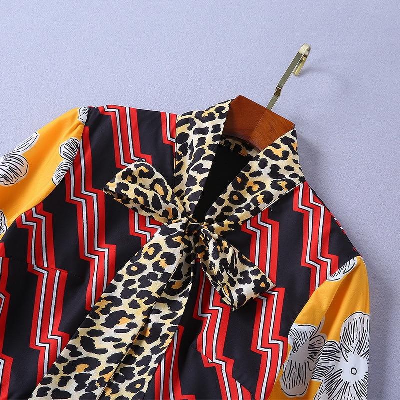 Écharpe Nouveau Col Léopard 2019 Manches À Imprimé Printemps Longues Jaune Robe 181109yz01 Tw6R6nqx