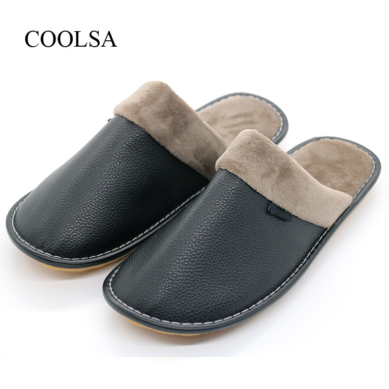 COOLSA Men's Winter Cotton Slippers Waterproof Non-slip Home Cotton Leather Slippers Solid Rubber Soles Warm Slippers for Men