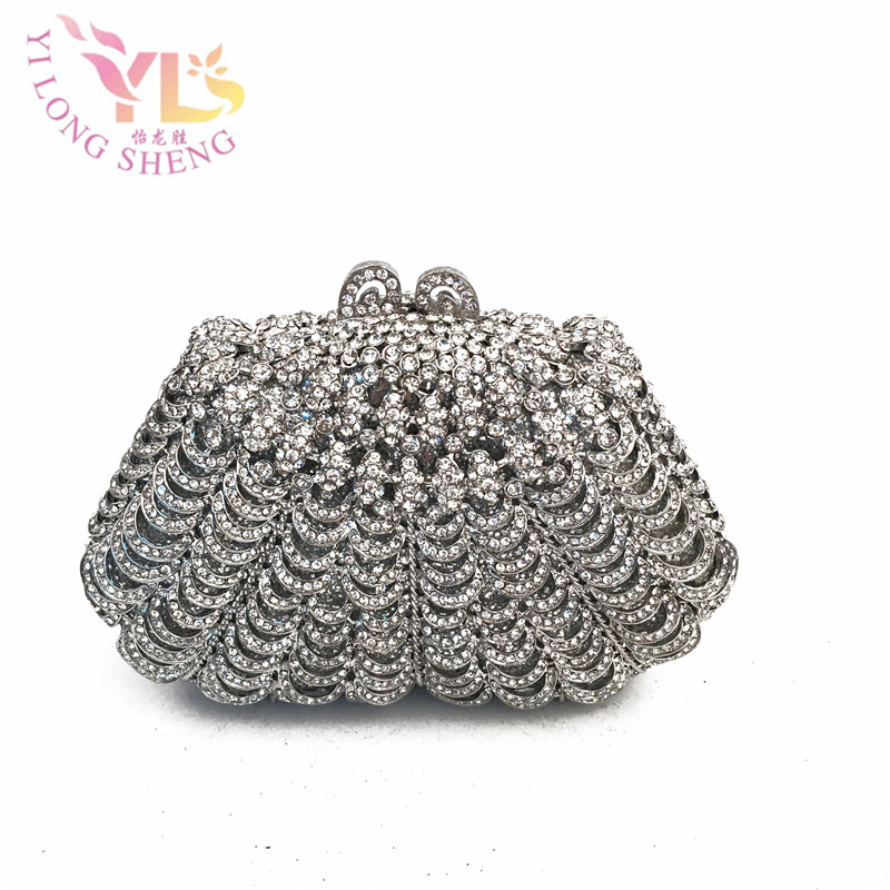 Fashion Crystal Silver Clutch Bag Women Evening Party Purses And Handbags Shoulder Handbags Crossbody Bags YLS-HOW17 new sequin clutch bag finger ring evening bag hard box clutch chain sshoulder bag crossbody bags for women purses and handbags
