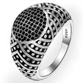 BELLA Fashion Men 925 Sterling Silver Black V Shape Ring Size 9/10/11 Silver Plated Cubic Zircon Ring For Party Daily