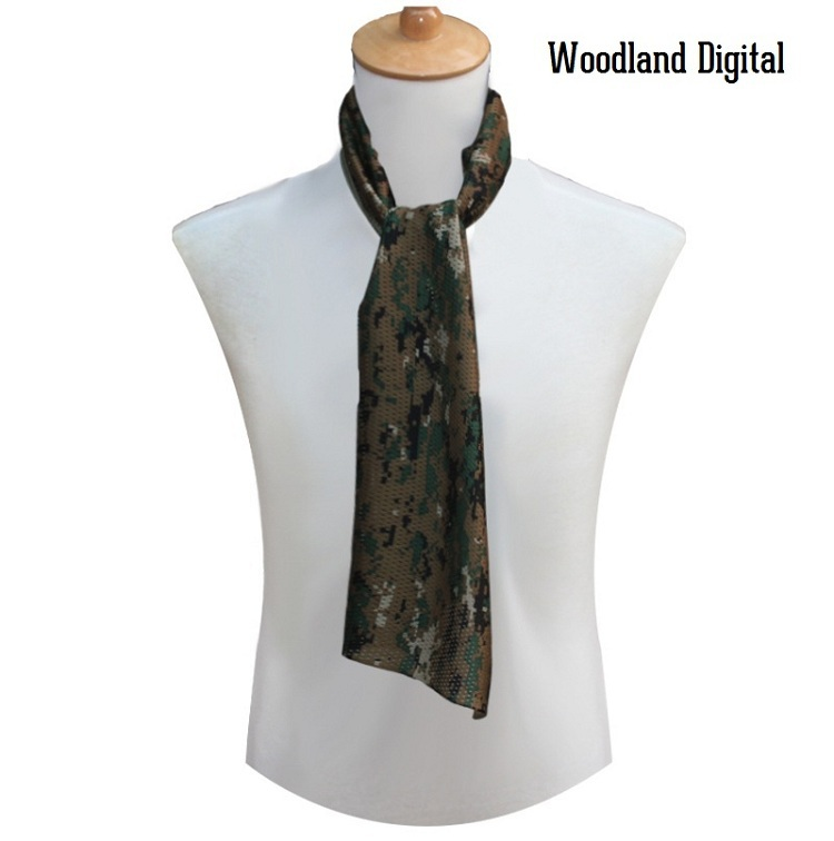 Универсальный арабский армейский Тактический Камуфляжный шарф для мужчин военный джунгли бой ветрозащитная сетка шаль вуаль унисекс Камуфляж шарфы для пейнтбола - Цвет: Woodland Digital