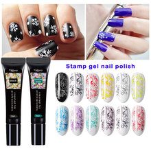 Nail Stamping Gel Polish 8ml Pure 12 Color Stamp Print Oil UV Lacquer Soak Off Varnish for Art Plate top coat