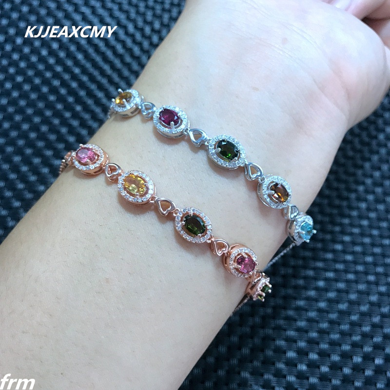 KJJEAXCMY Fine jewelry Natural tourmaline female Bracelet wholesale, 925 sterling silver inlaid new products hot