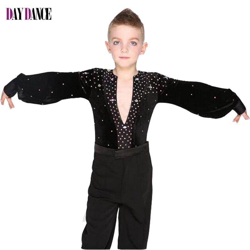 Boys Kids Modern Ballroom Latin Rumba Dance Shirts Sexy -6038
