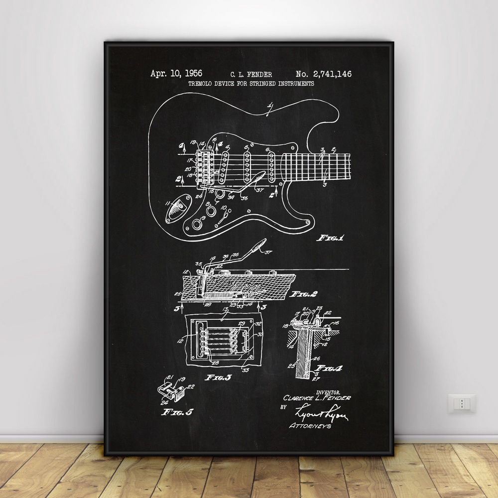 Fender Stratocaster Guitar Art Silk poster Home Decor ...