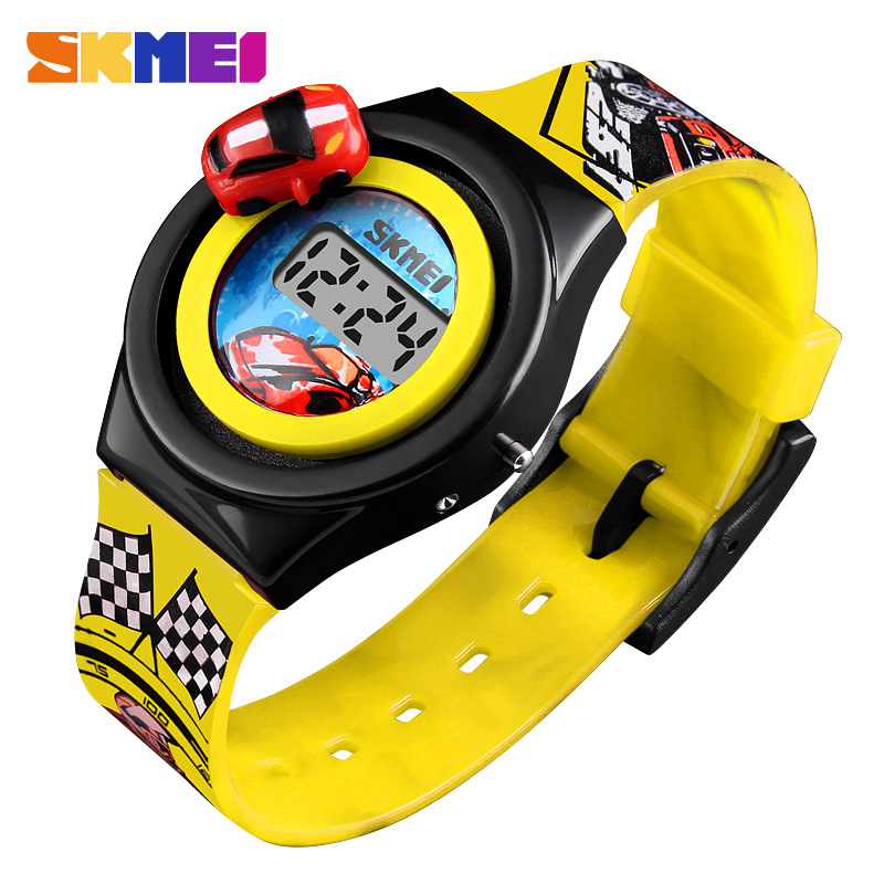 SKMEI Cartoon Car Children Watch Fashion Digital Electronic Children Watch Creative Cartoon Student Watch Boy Child Girl 1376