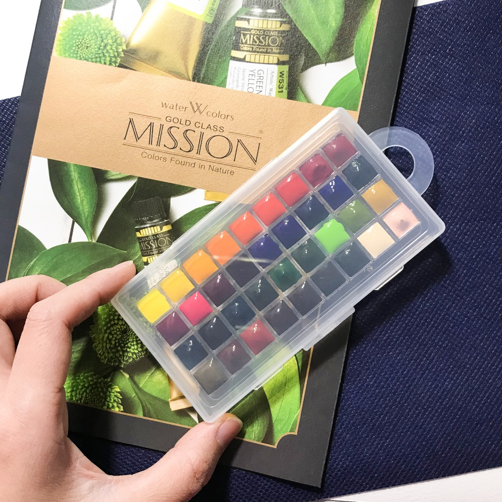 Korea Mijello Gold Master Color Koi Watercolor Paint 34-colors Water Picture Painting  Packing Disc Trial Tray Dispensing Plate
