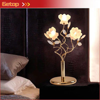 European Luxury Crystal Table Lamp Creative Flower Lights Post Modern Living room Bedroom G4 LED Desk Lamp Gold Lighting Fixture