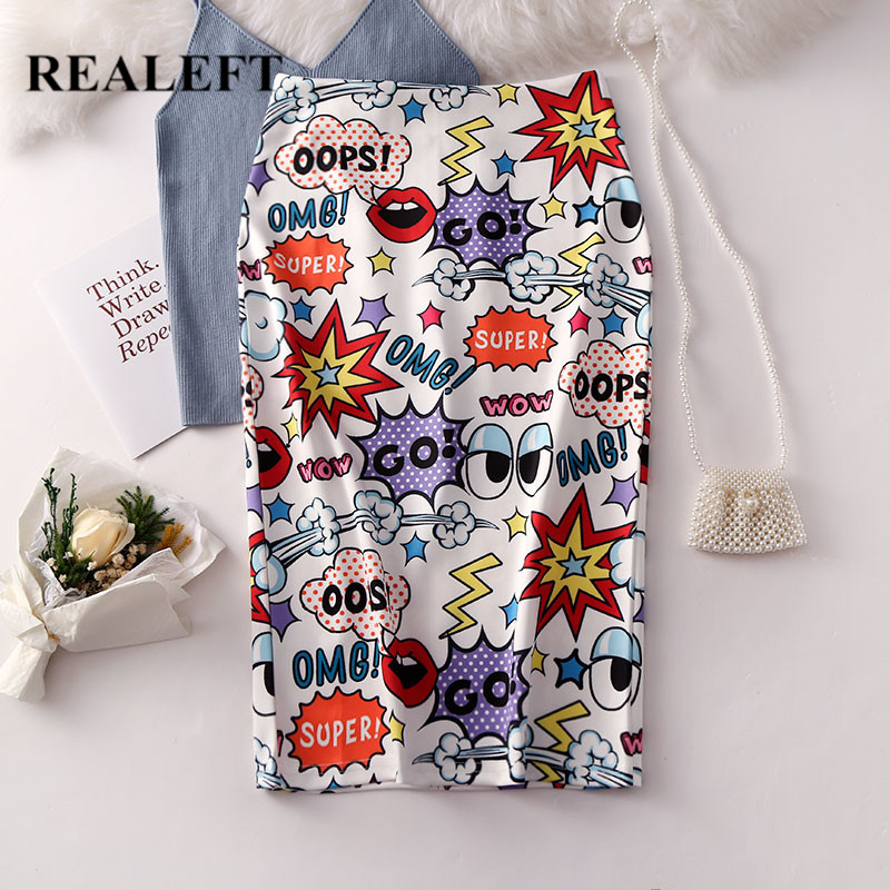 REALEFT Elegant Women Cartoon Letter Printed Pencil Skirts New Arrival High Street High Waist Knee  Length Midi Skirt for Ladies-in Skirts from Women's Clothing on AliExpress - 11.11_Double 11_Singles' Day 1