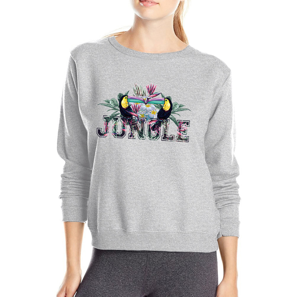 Jungle Womens Hoodies 2017 Autumn Winter Fleece Womens Tracksuit Animal Sweatshirt Female Fleece High Quality O-Neck Pullovers