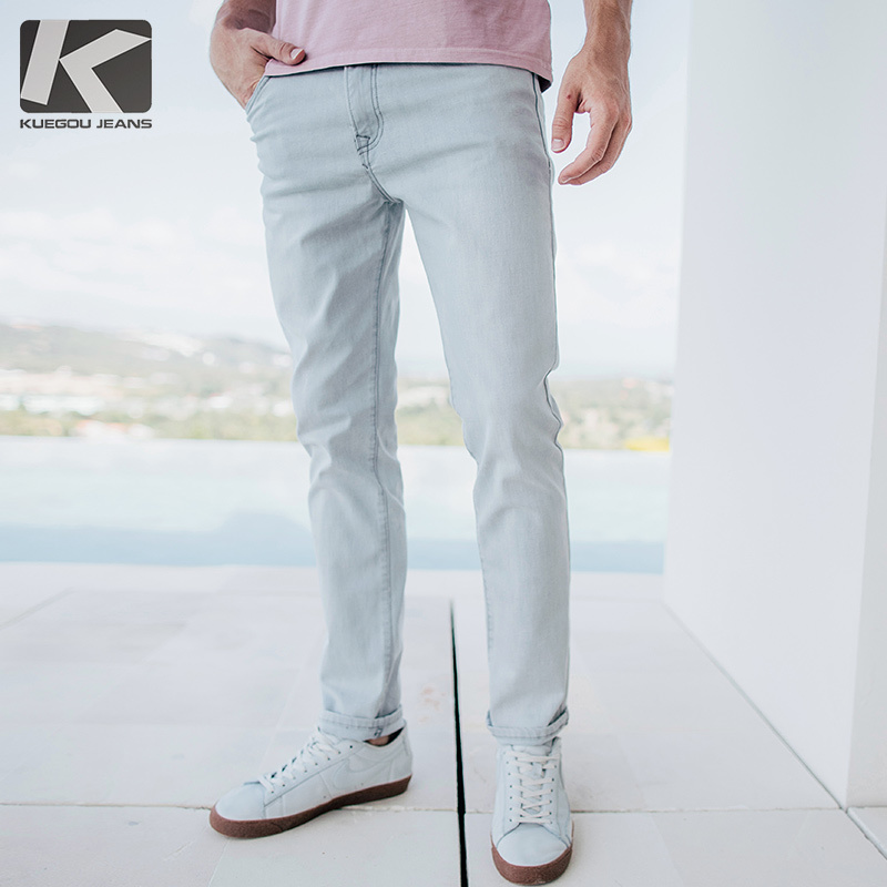 Spring Mens Jeans Cotton Gray Color With Pockets New For Man's Slim Fit Denim Pants Male Wear Fashion Brand Long Trousers 2337 lenstid new italy classic blue denim pants men slim fit brand trousers male 2017 high quality cotton fashion jeans homme 6616