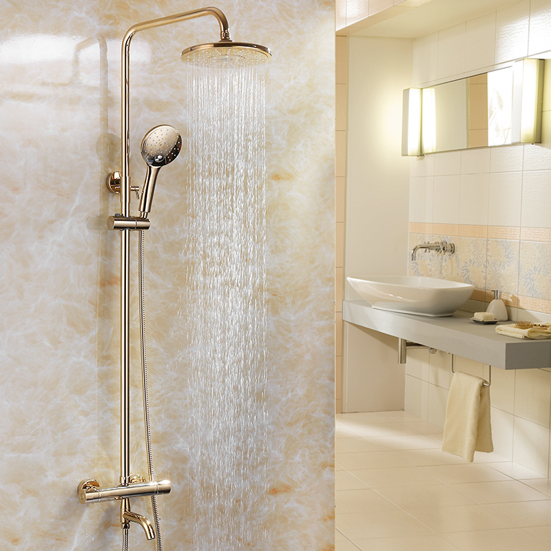 Shower Faucets Luxury Polish Gold Thermostatic Bathroom Faucet Mixer ...