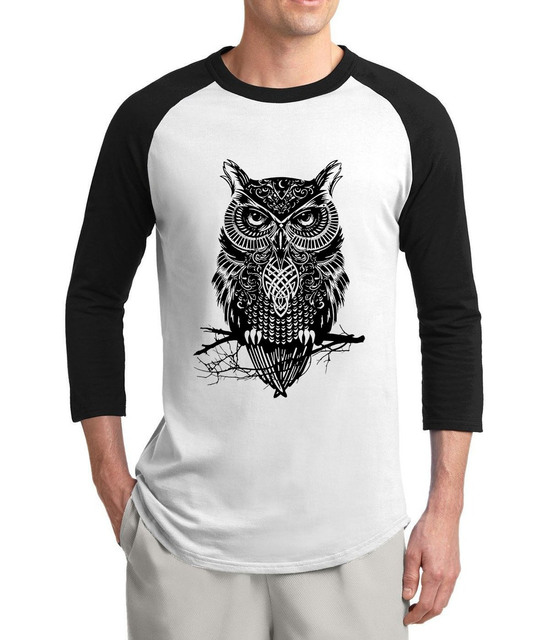 d67a29b0 hot sale Drake Owl Animal print three quarter sleeve t-shirt men 2017 new  summer