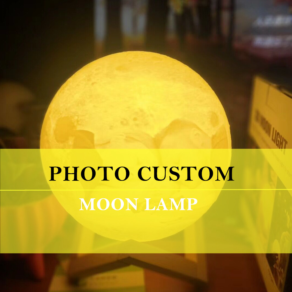Customized Personality 3D Printing Moon Light 10/12/15/18/20CM Lunar USB Charging Night Lamp Touch/Remote 2/16 Colors Moonlight