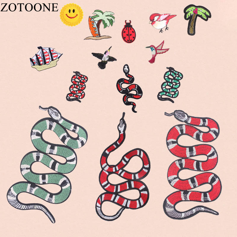 ZOTOONE Cool Big Snake Patch Iron On Patches For Clothing Jacket Biker Punk Patch Embroi ...