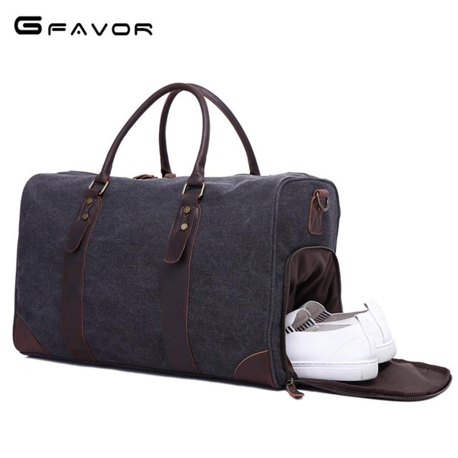 G-FAVOR Casual Tote Bag Men Canvas&Leather Large Capacity Travel Handbag Messenger Bags Male Luxury Quality Brand Men's Bag цена 2017