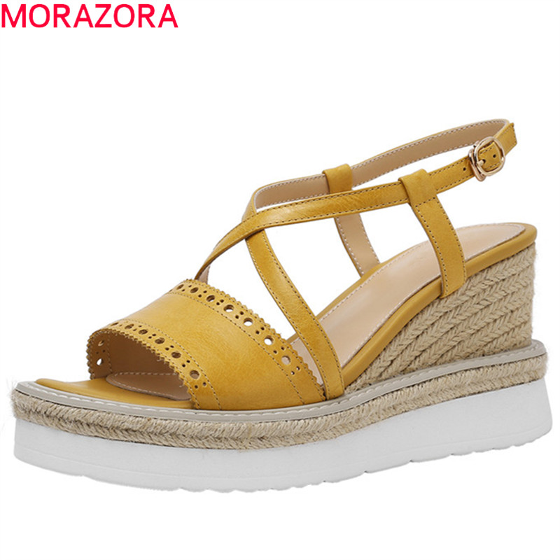 MORAZORA 2019 new arrival wedges platform shoes women sandals genuine leather shoes buckle summer party wedding shoes woman MORAZORA 2019 new arrival wedges platform shoes women sandals genuine leather shoes buckle summer party wedding shoes woman