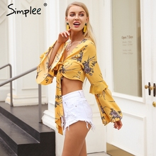 Floral print Ruffle flare sleeve cropped top