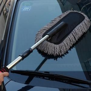 Image 4 - Microfiber Car Cleaning Borstel Auto Window Stofdoek Intrekbare Roestvrij Staal Lange Handvat Wasstraat Slepen Wax Shan Wasmachine