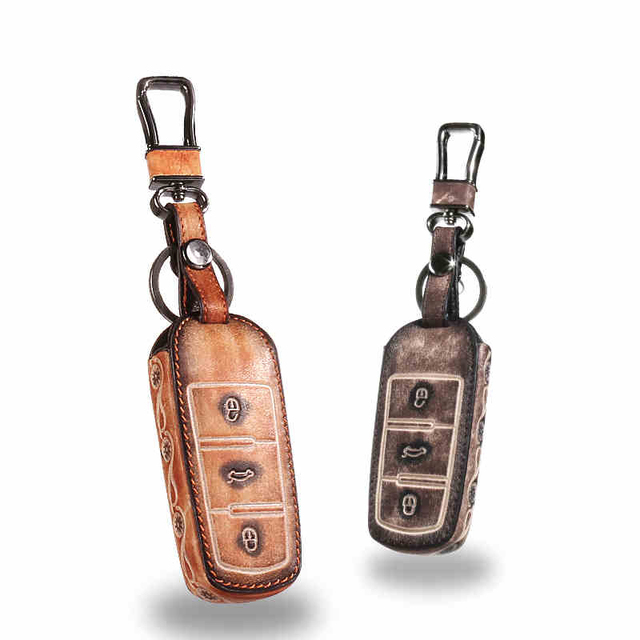 Leather Car Keychain Key Fob Case Cover for VW Golf 5 6 7 Jetta MK5 MK6 MK7 CC Tiguan Passat B6 B7 Scirocco Key Rings Holder bag