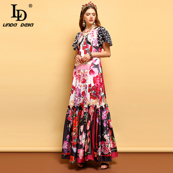 Women's Ruffles Floral Print Holiday Party Dress