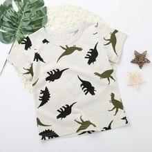 Новинка года; модная детская футболка для мальчиков мультфильм Динозавр принт с карманом футболки Прямая поставка