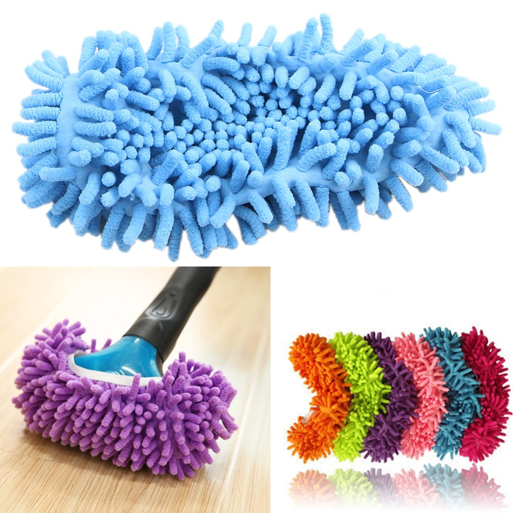 THINKTHENDONew Multi function Floor Dust Cleaning Shoes Mop House Clean Shoe Cover Slippers chenille mop slippers
